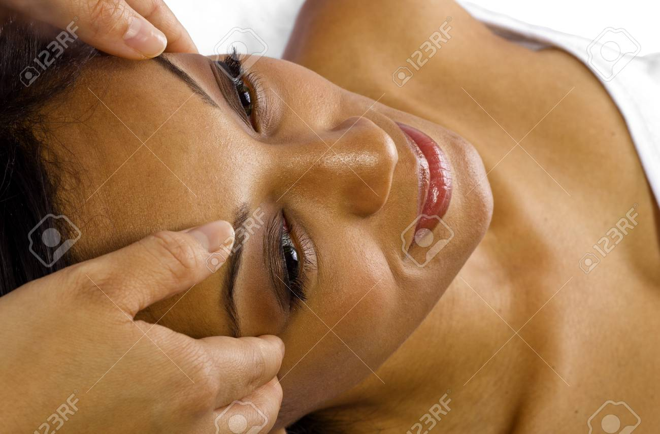 young black female getting a head massage   facial Stock Photo - 24610076