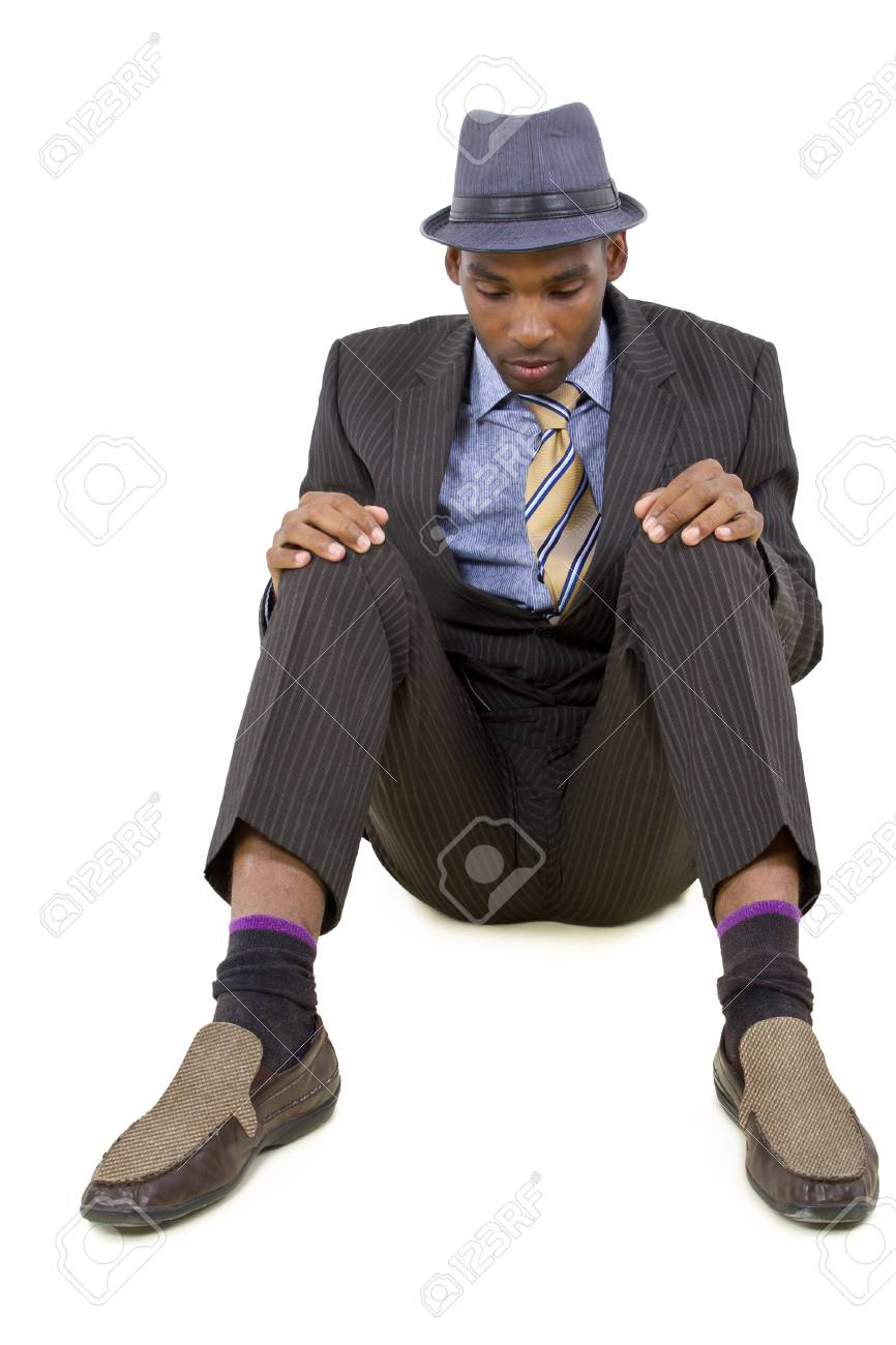 young black businessman stressed or depressed about failure Stock Photo - 25282694