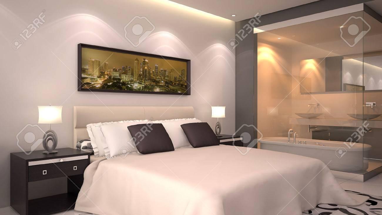 Bright modern interior of hotel room or condominium stock photo