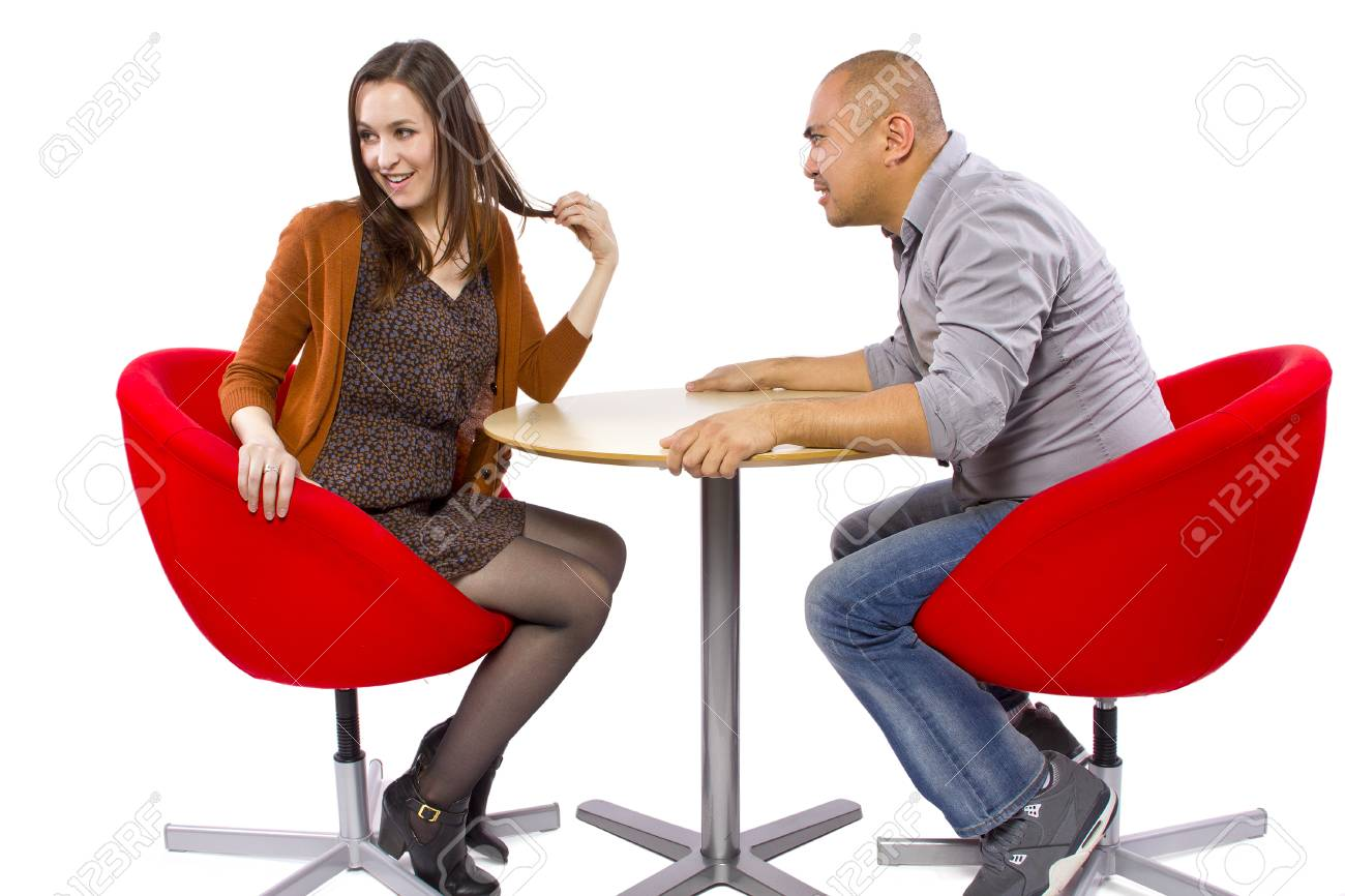 rude interracial couple on a bad date Stock Photo - 27491929