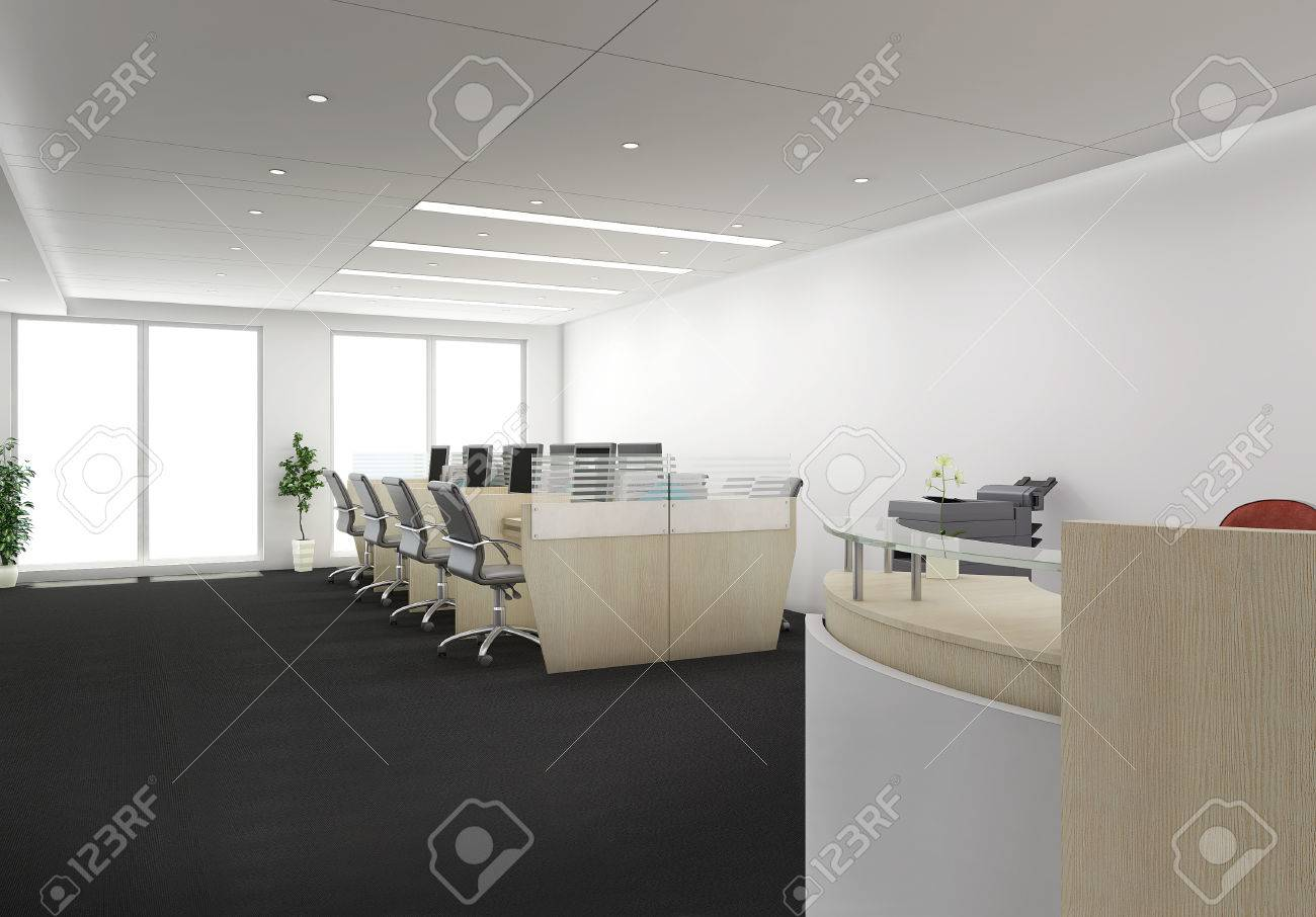 3d render of desk with office cubicles stock photo