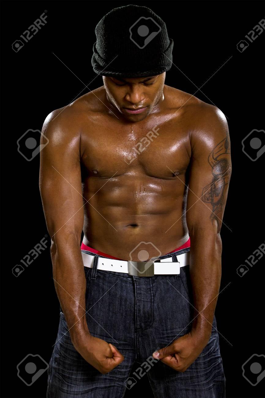 Abbigliamento Uomo In Hip Muscoloso Nero Stile Immagini Hop Stock ZikuOPX
