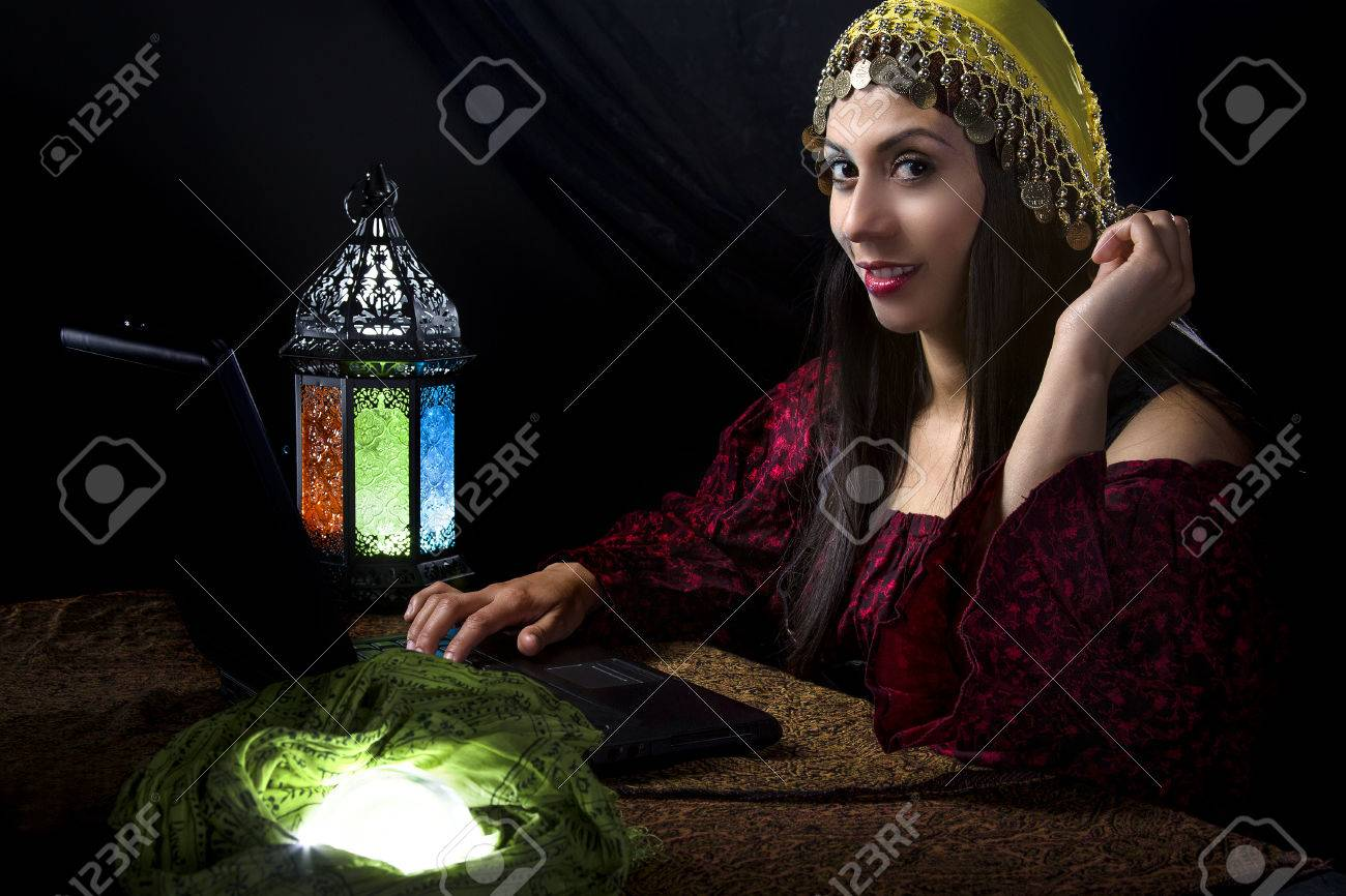 Fortune Teller blogging about her predictions with a computer