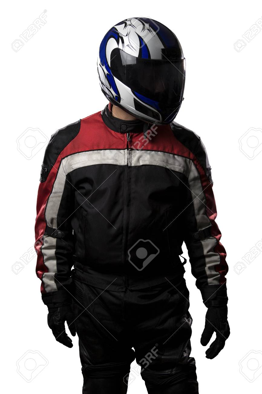 Man Wearing A Protective Leather And Textile Racing Suit For Race Cars And Motorcycle Motor Sports The Gear Is Armored With A Helmet And Worn By Bikers And Professional Drivers The Man