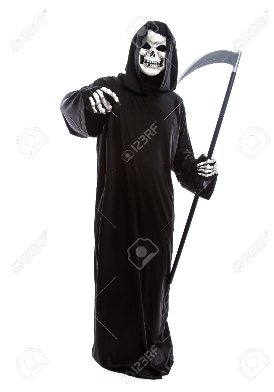 4813f61d2b Halloween costume of a skeleton grim reaper wearing a black robe on a white  background pointing