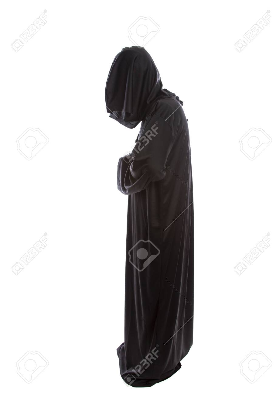 Monk Wearing Black Robes And A Hood Or A Person In A Halloween Stock Photo Picture And Royalty Free Image Image 122008203