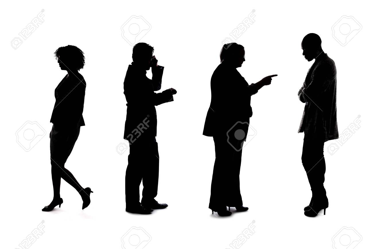 Silhouettes of a group of workers depicting a company or networking event. The businessmen and businesswomen are unrecognizable and anonymous and represents an office team or staff. - 143006629