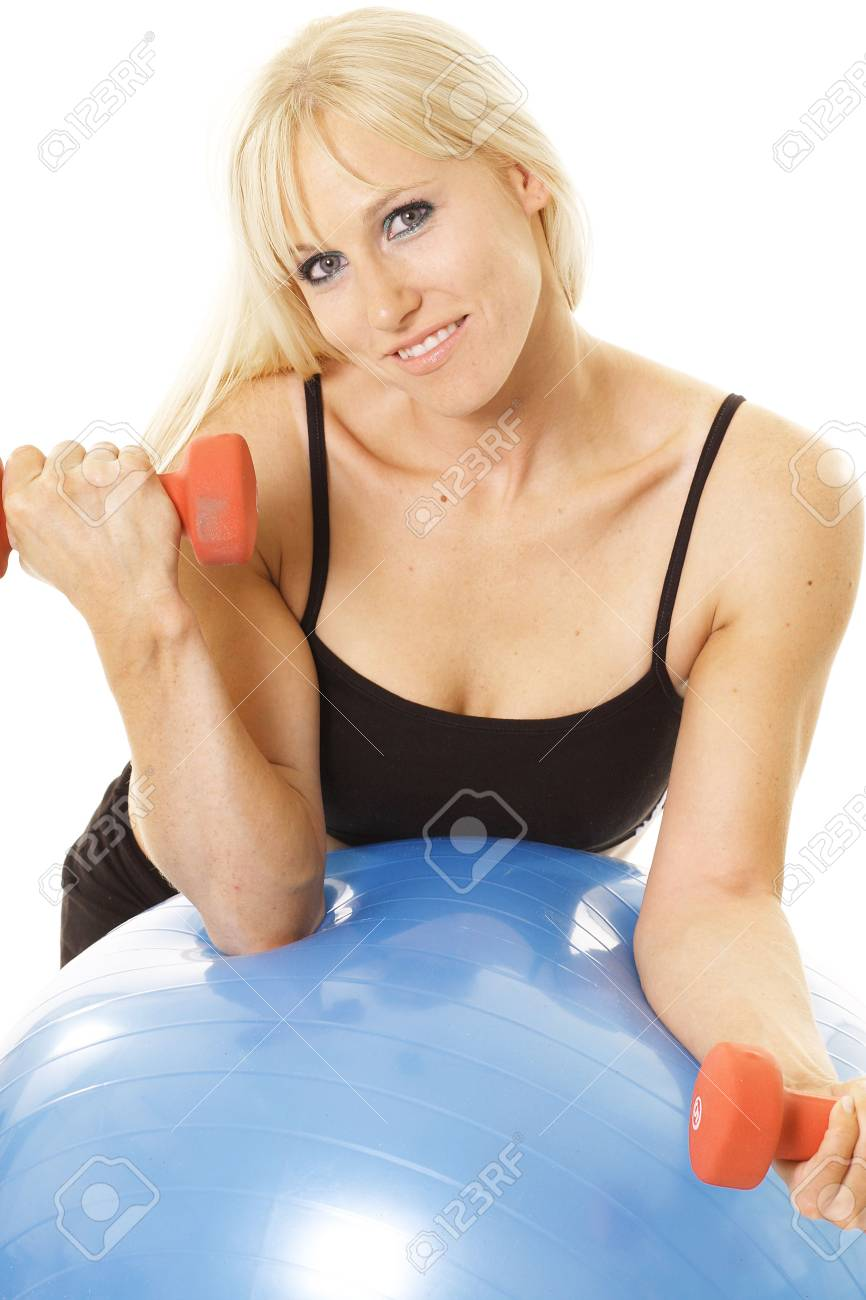 curling exerciser leaning on ball Stock Photo - 5762917