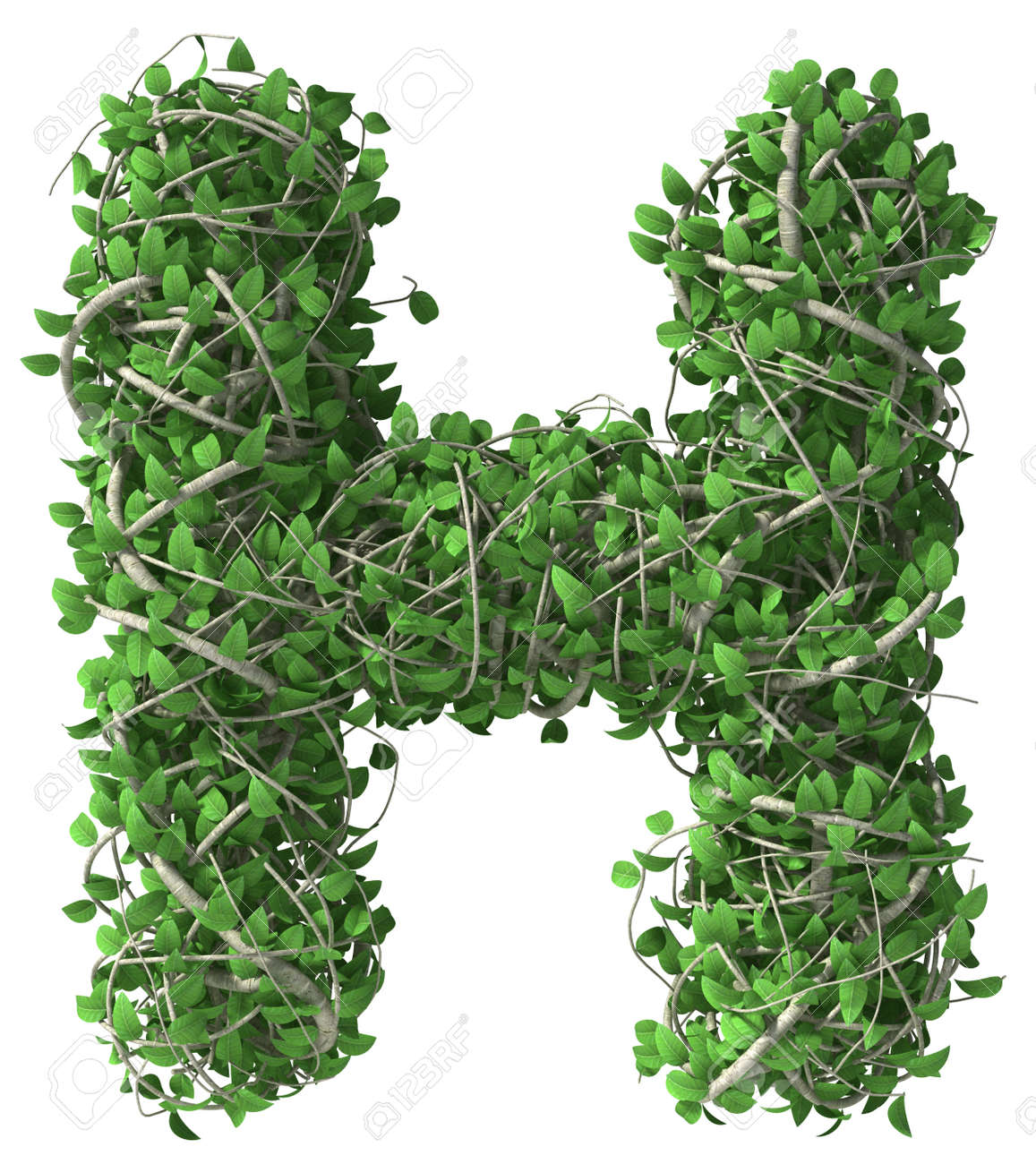 Green alphabet made of trees and leafs. Seasonal summer letter H - 37443774