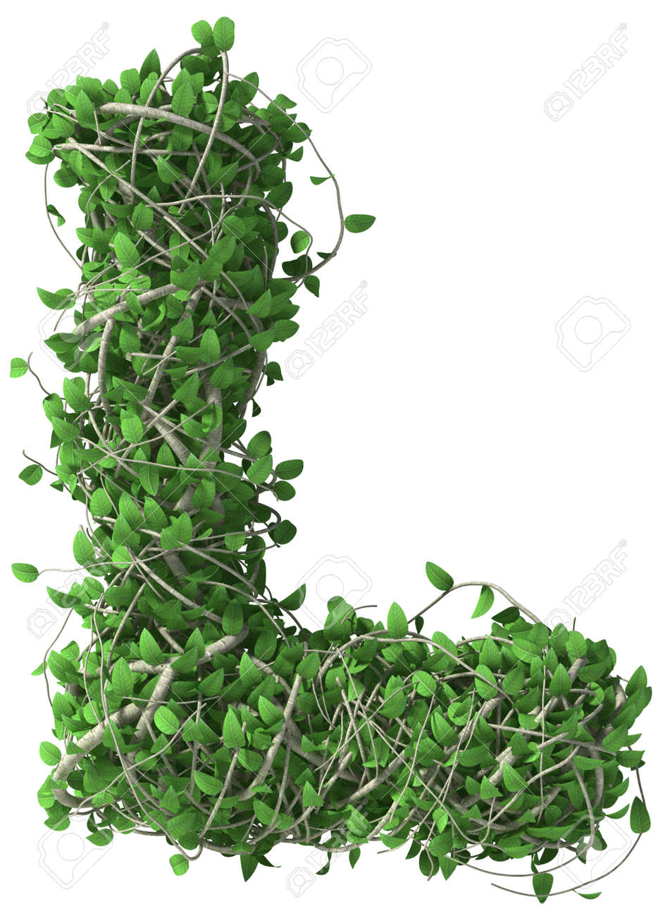 Green alphabet made of trees and leafs. Seasonal summer letter L - 37443777
