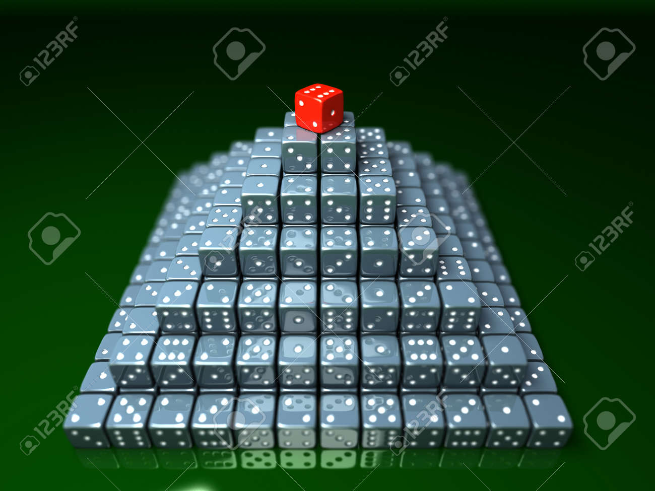 Pyramide made of dice on game table in a casino - 37202499