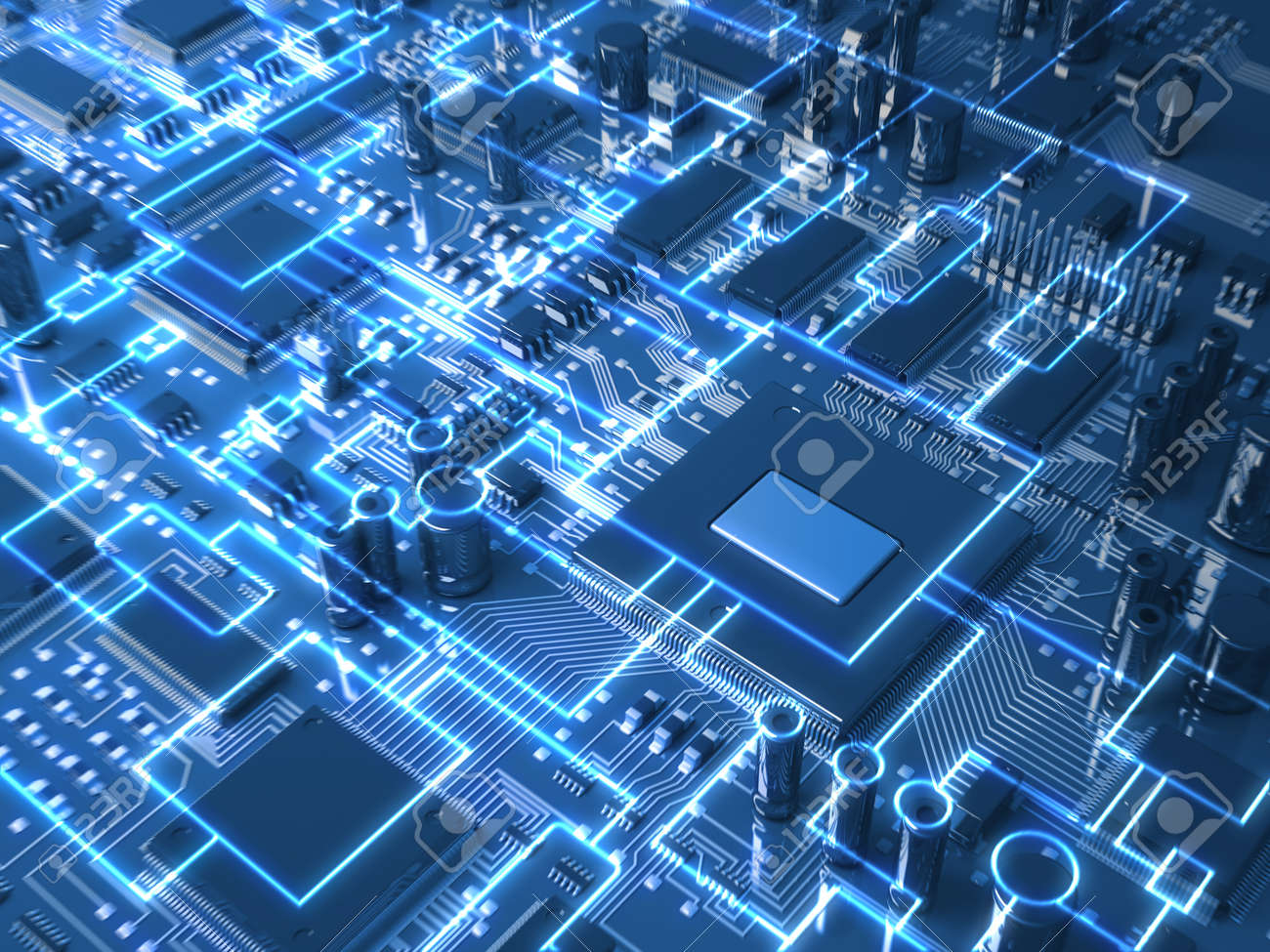 Circuit Board Stock Photos Royalty Free Images Clip Art Image Simple Drawing Of A Fantasy Or Mainboard With Microcircuits And Processors Technology 3d Illustration