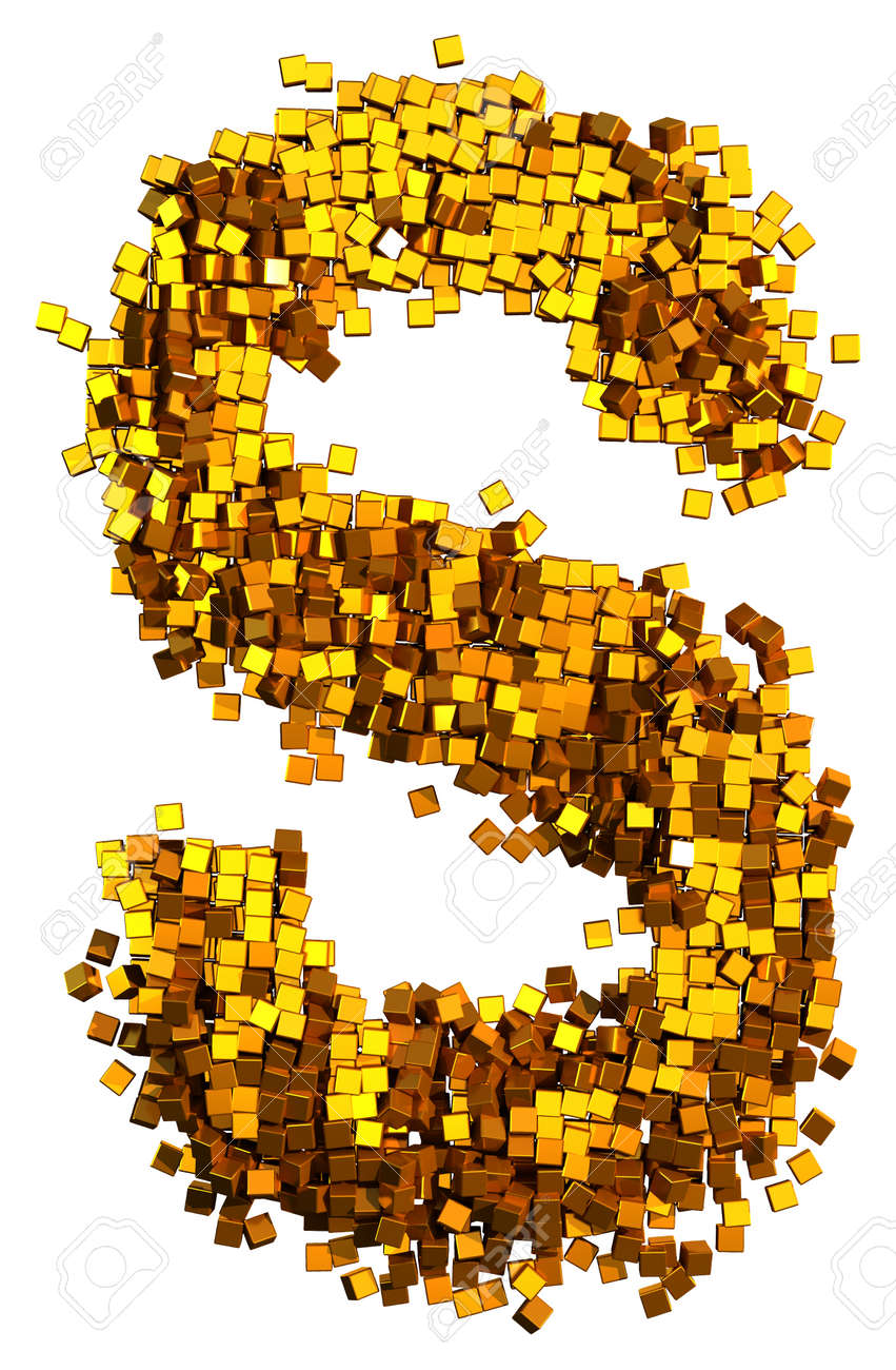 Glamour Alphabet made of gold cubes. Letter S - 37202553