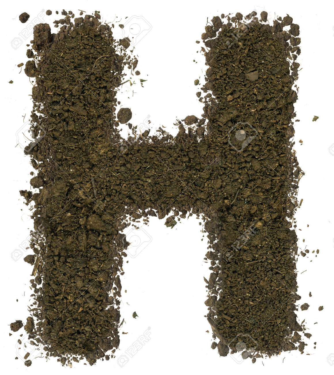 Alphabet made of brown soil on white background. High sharp and detail. Letter H - 38793913