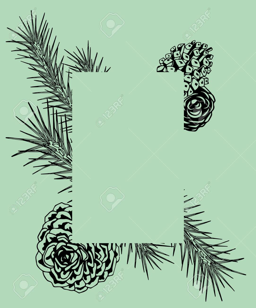 Framework With Pine Branches Cones Needles Decorative Twigs Royalty Free Cliparts Vectors And Stock Illustration Image 131548771
