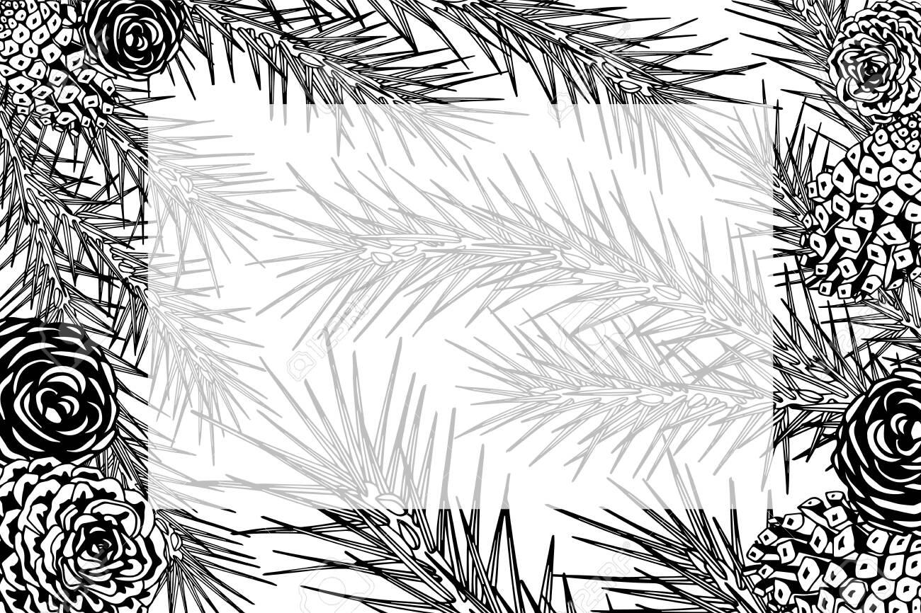 Framework With Pine Branches Cones Needles Decorative Twigs Royalty Free Cliparts Vectors And Stock Illustration Image 130883669