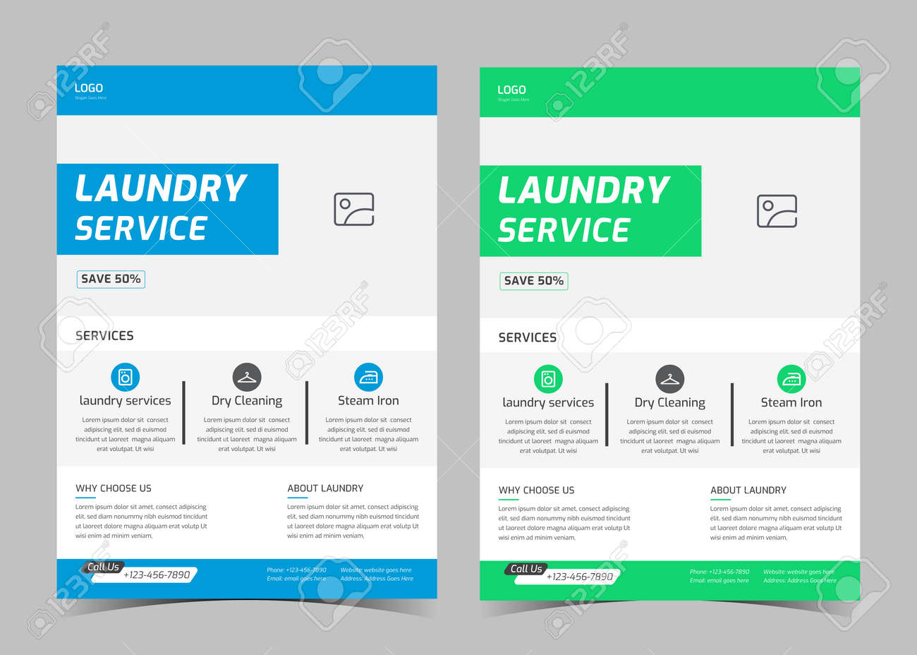 Laundry service flyer template. Creative laundry service poster. Laundry cleaning service leaflet template. - 169162270