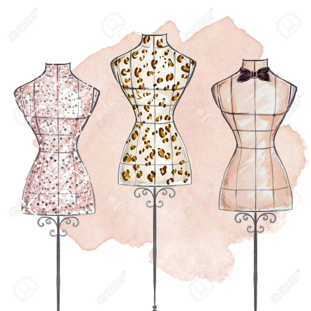Fashion Illustration Hand Draw Watercolor Mannequins Stock Photo Picture And Royalty Free Image Image 49178748