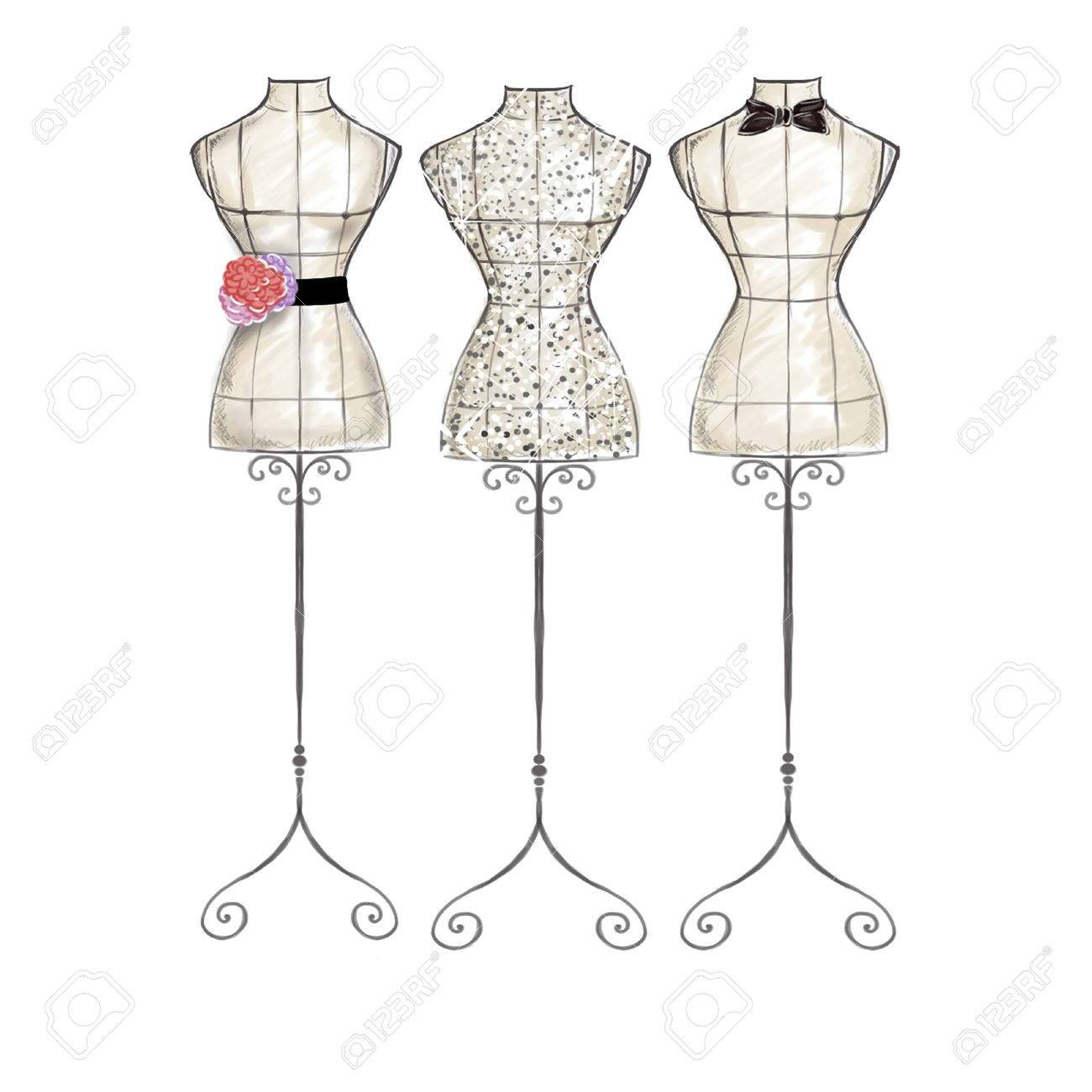 Fashion Illustration Hand Draw Watercolor Mannequins Stock Photo Picture And Royalty Free Image Image 49178749