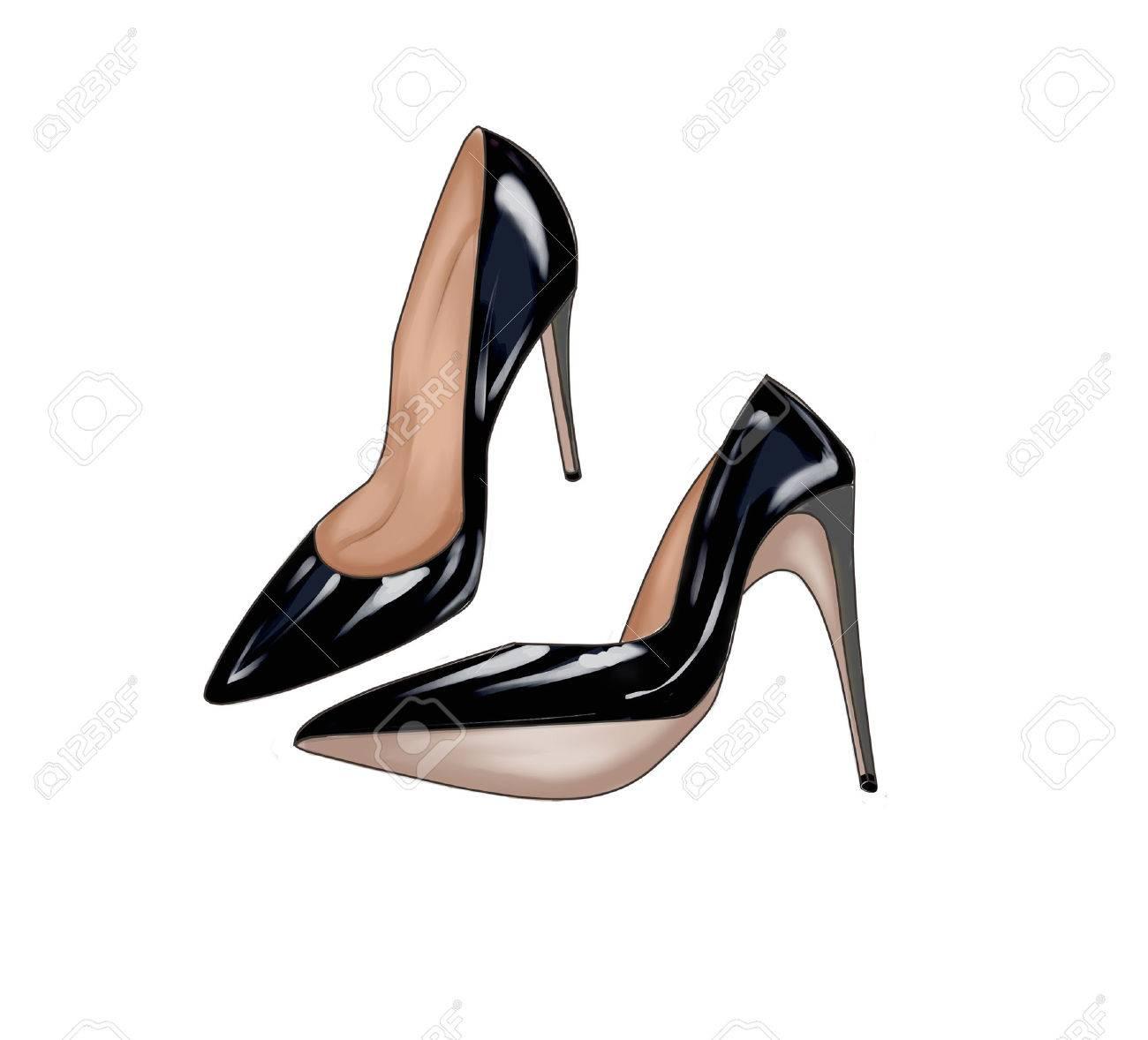 Black Stiletto Shoes Stock Photo