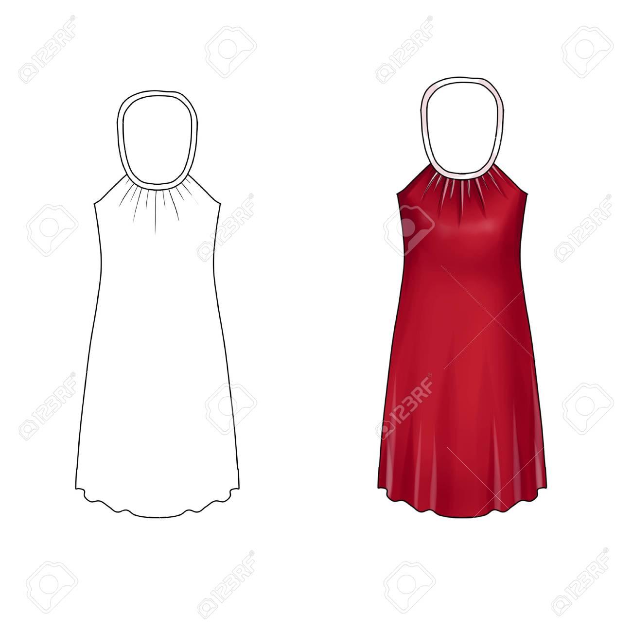 flat fashion illustration template neck tie short dress stock