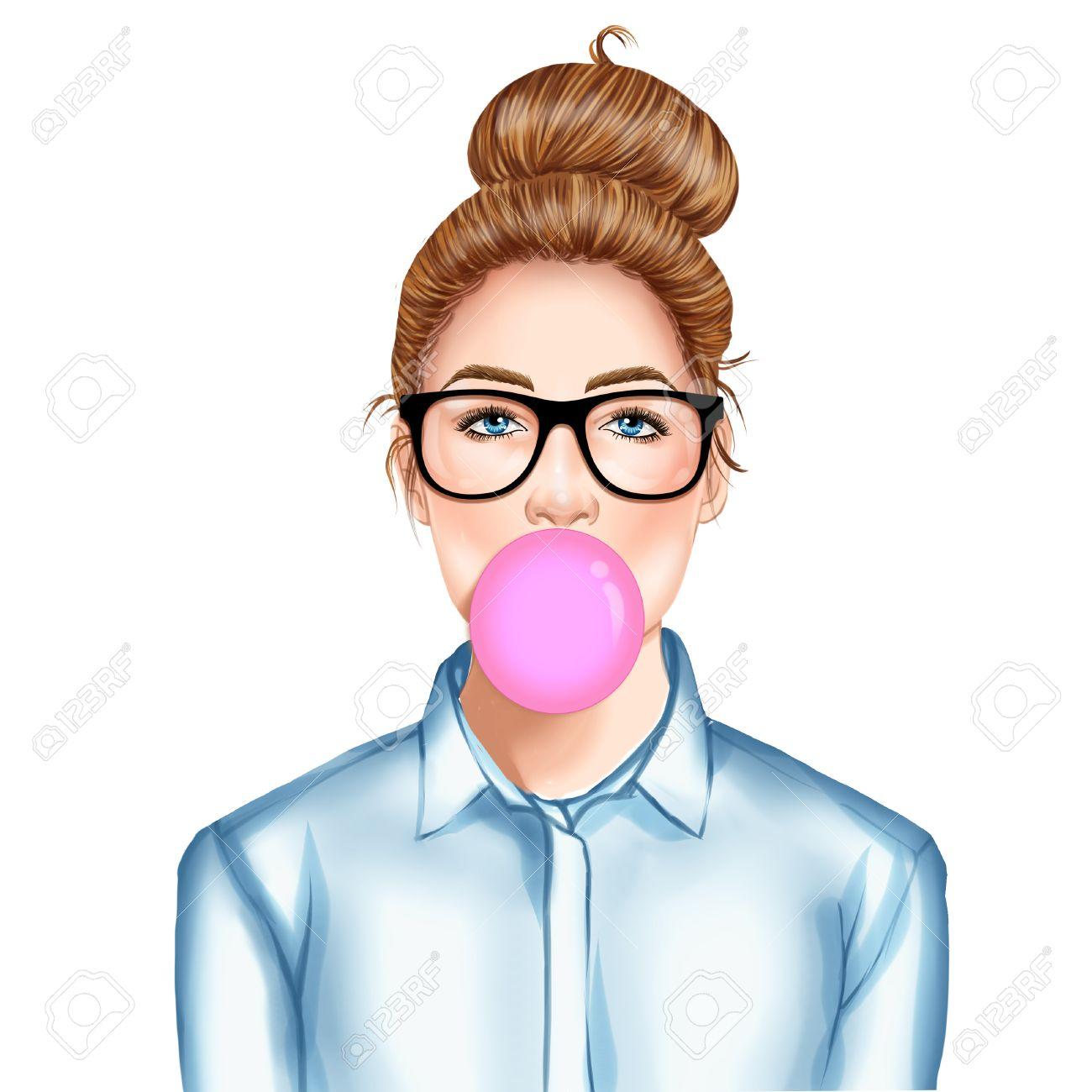 手描きイラスト ラスター風船ガムを噛んでメガネで美しい若いきれいな