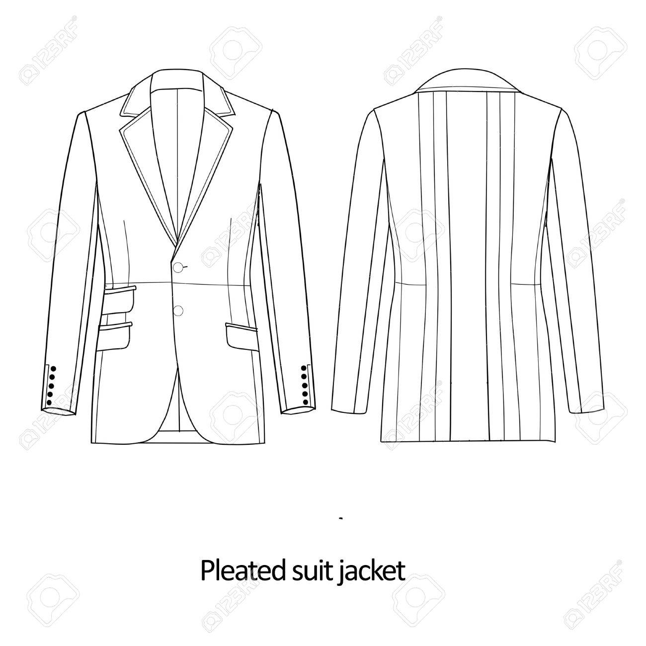 Flat Fashion Sketch Template - Man Suit Jacket Stock Photo, Picture ...