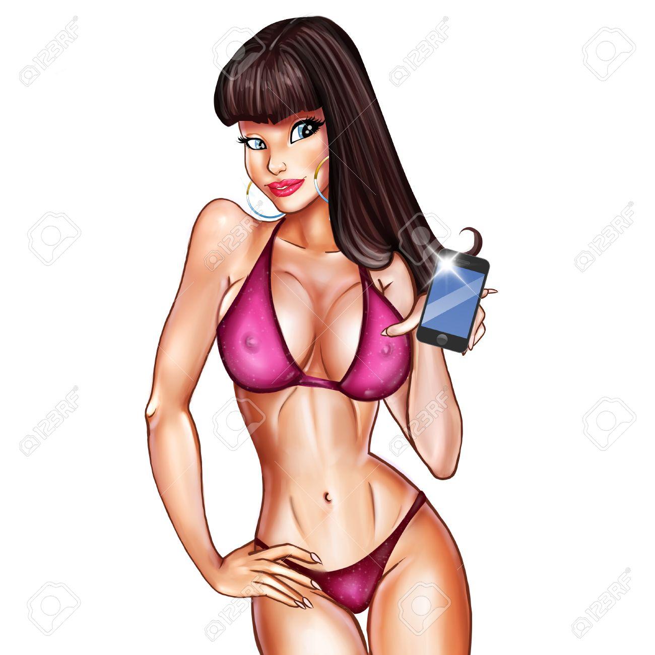 Dessin Anime Sexy personnage de dessin animé d'une jeune fille sexy prenant selfies
