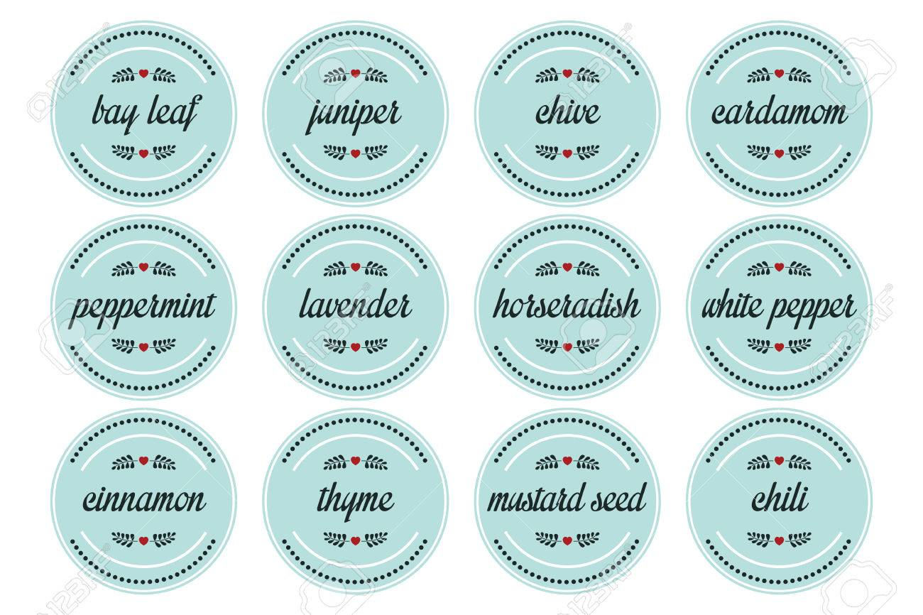 12 Herbs And Spices On Round Label Royalty Free Cliparts, Vectors ...