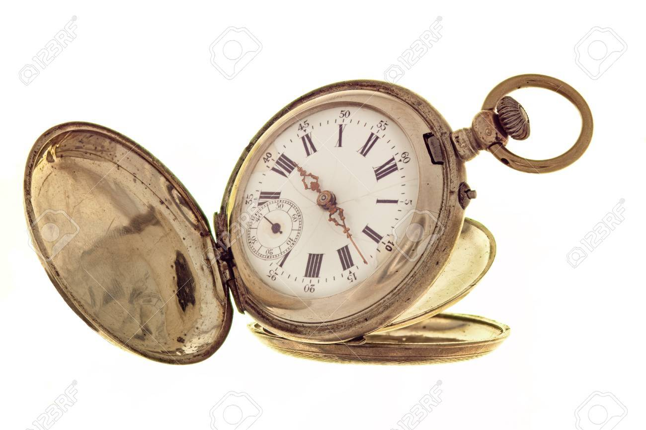 46e640564 Stock Photo - Vintage pocket watch isolated on a white background with an  open lid.