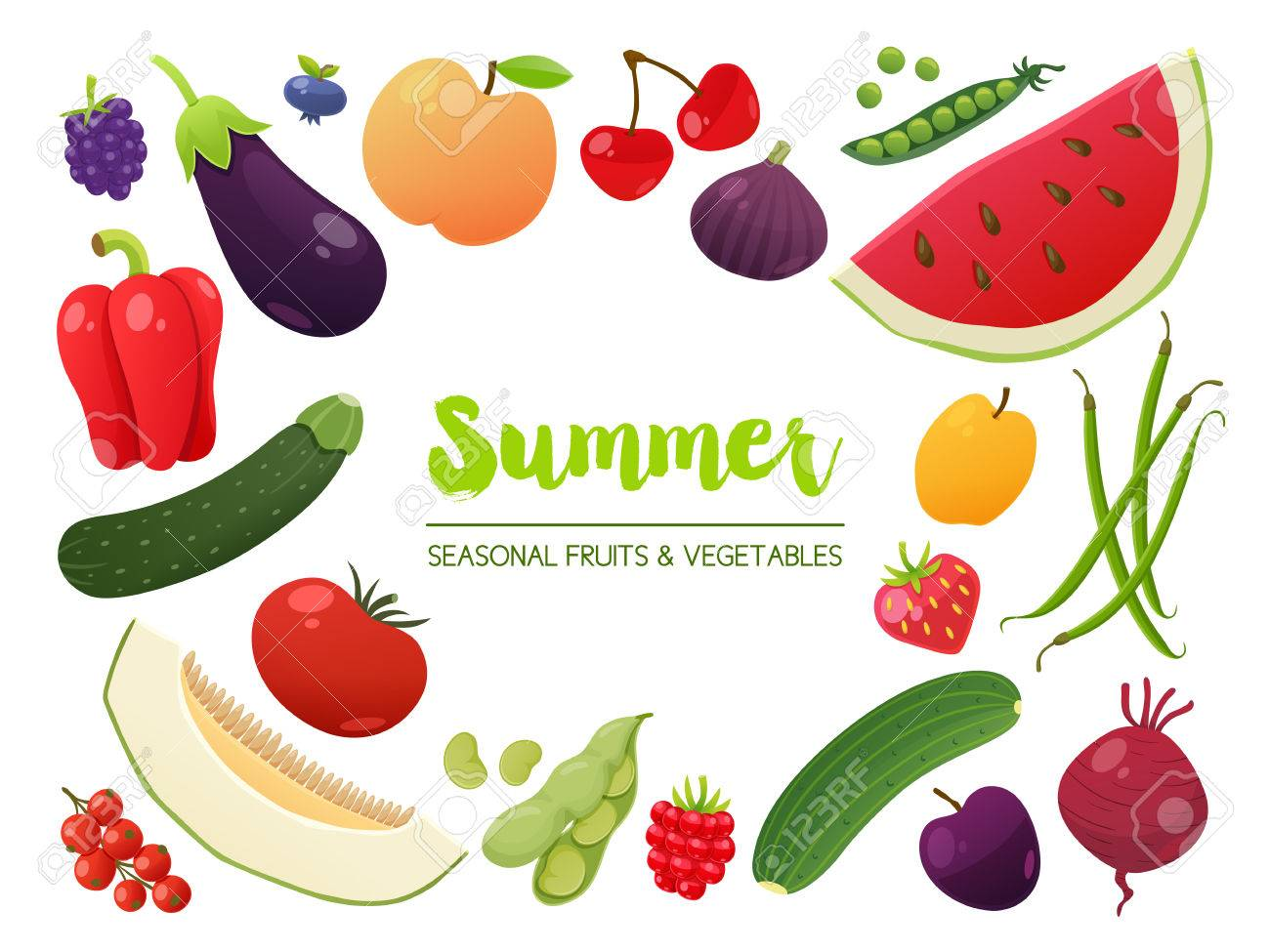 Collection Of Seasonal Fruits And Vegetables. Summer Time Collection.  Vector EPS10 Illustration. Stock