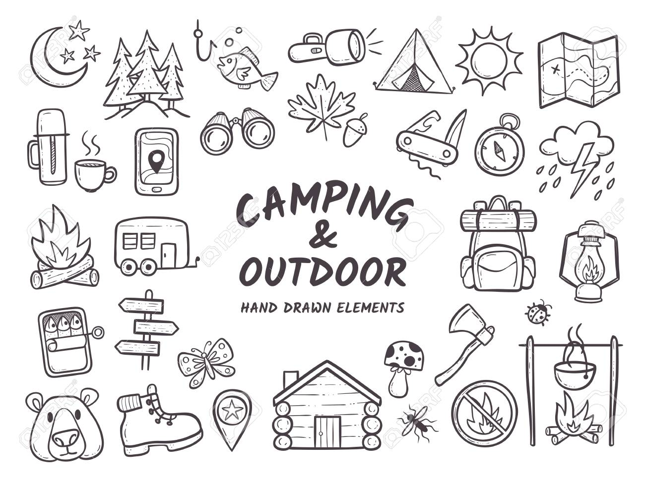 Hand drawn camping and hiking elements, isolated on white background. Cute background full of icons perfect for summer camp flyers and posters. Outlined vector illustration. - 96954397