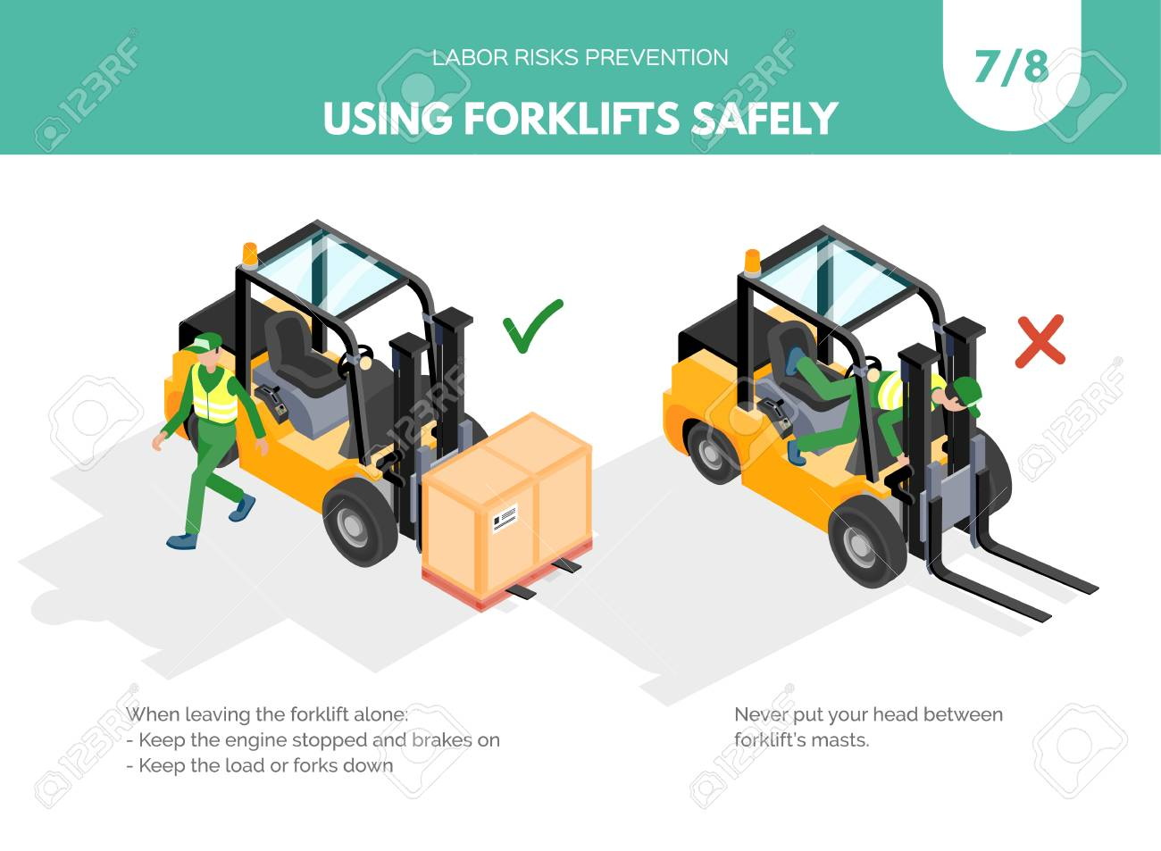 Recomendatios about using forklifts safely. Labor risks prevention concept. Isometric design isolated on white background. Vector illustration. Set 7 of 8 - 110390286