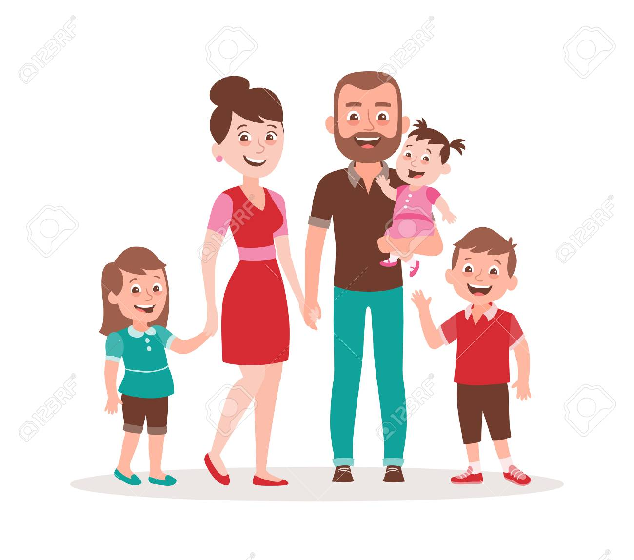 Happy Family Portrait Father Mother Daughter Son And A Baby Royalty Free Cliparts Vectors And Stock Illustration Image 121113812