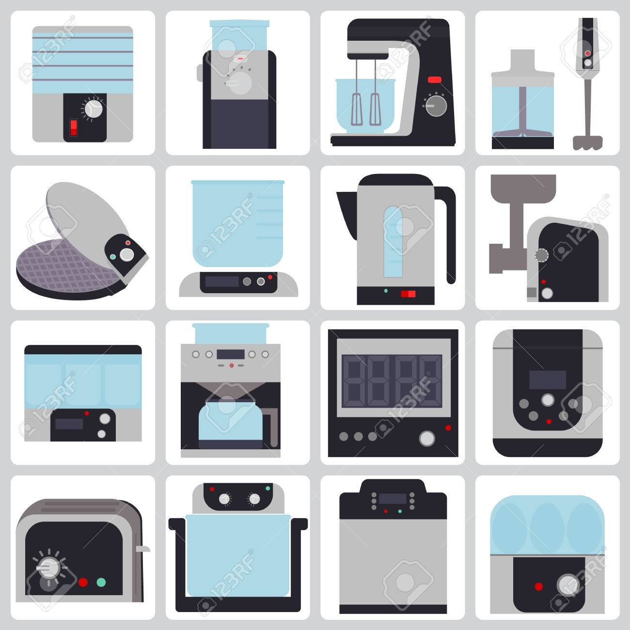 Reihe Von Farbigen Icons Von Kleinen Haushaltsgeräten Für Die Küche  Standard Bild   39565657