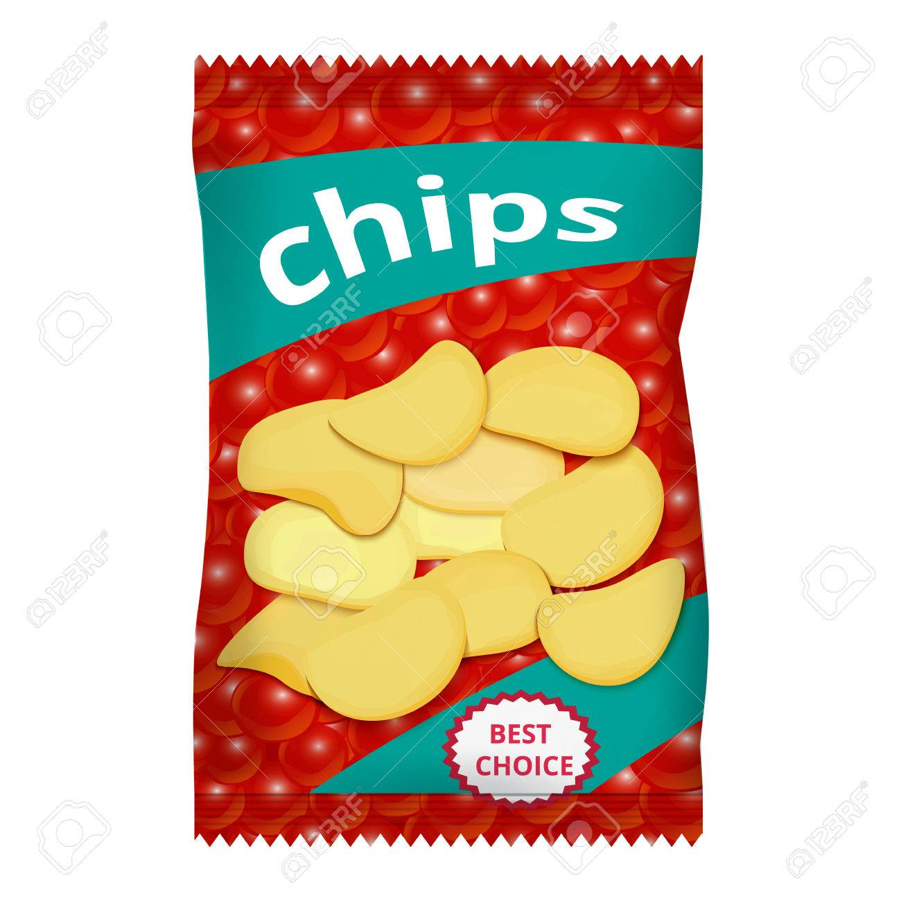 Chips with red caviar, packaging design - 55377566