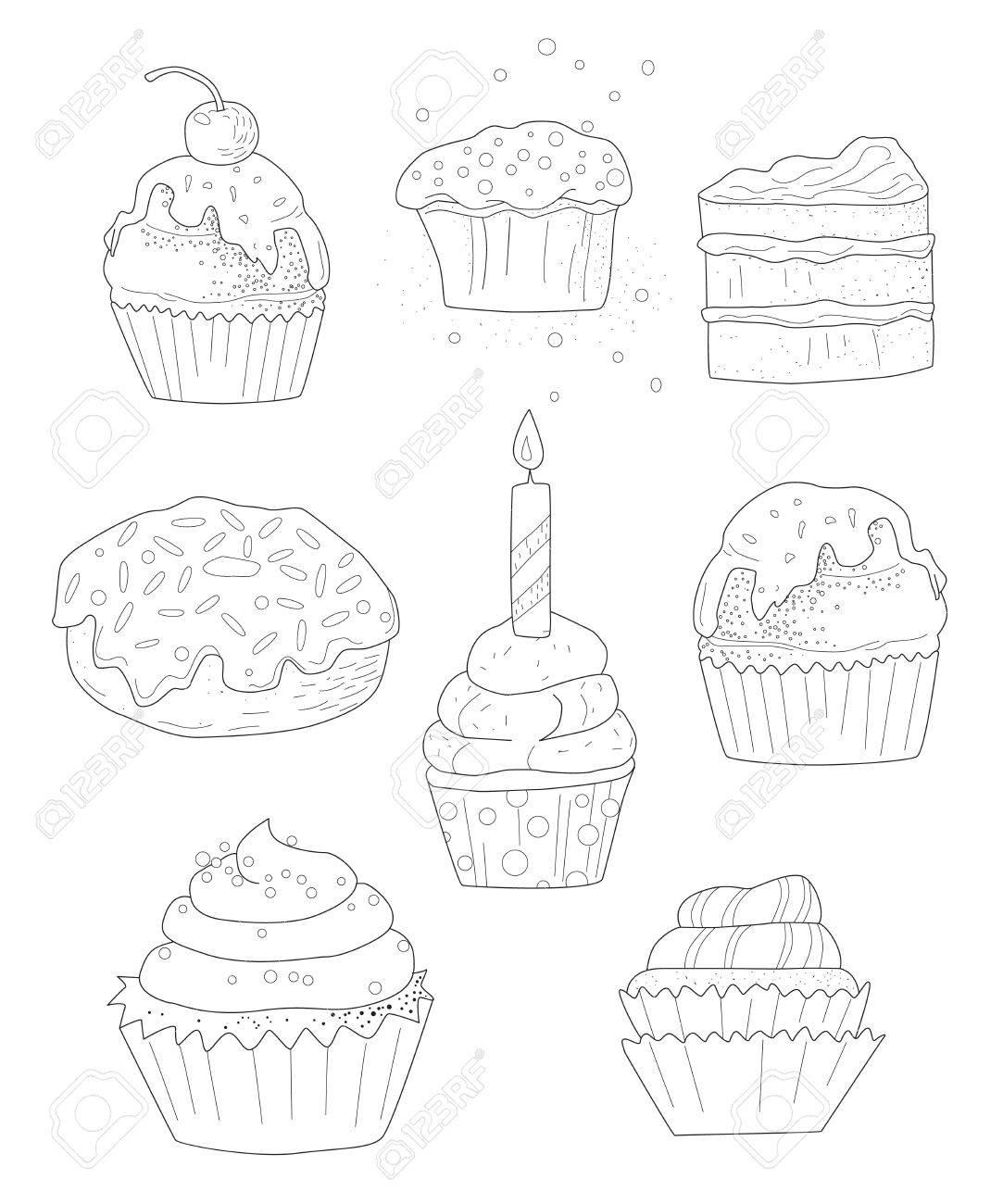Sammlung Von Kuchen, Seite Färbung Für Erwachsene, Von Hand ...