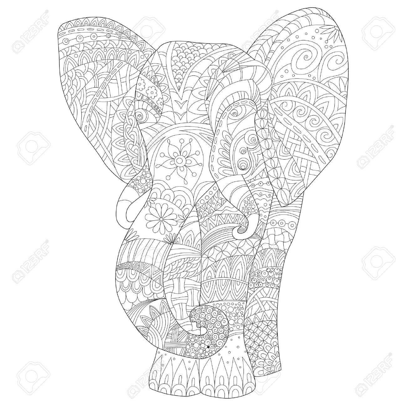 page coloring for adults hand drawn elephant zentangl style