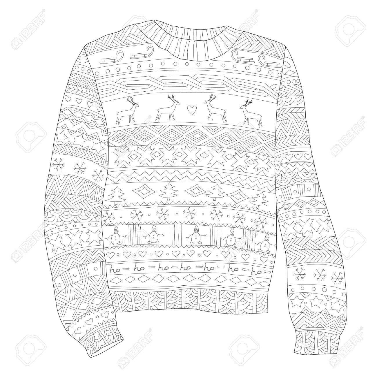 Suéter Con Los Ciervos, Página Para Colorear Antiestrés, Colorear ...