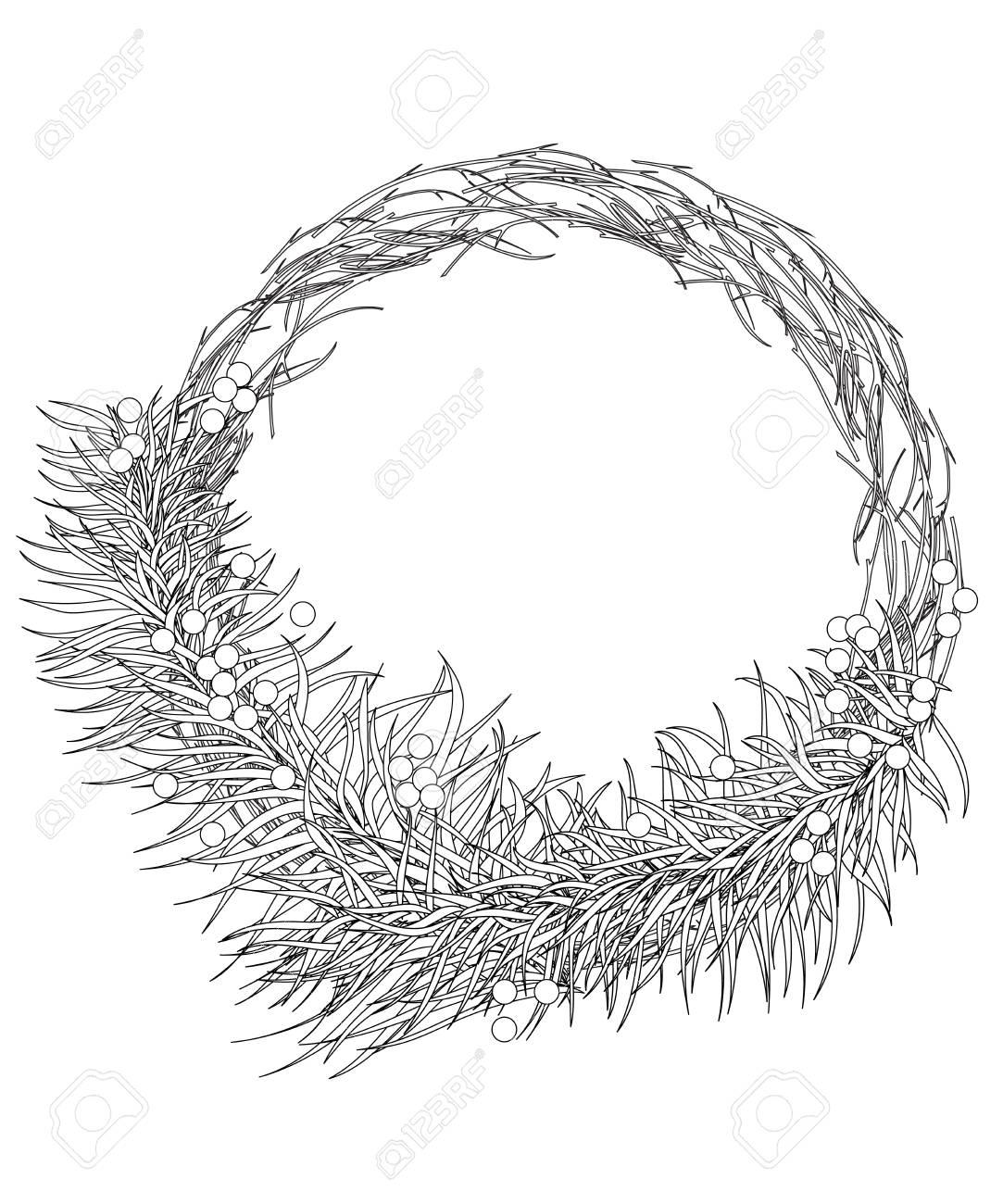 Guirlande De Noël De Branches De Sapin Avec Des Baies Coloriage