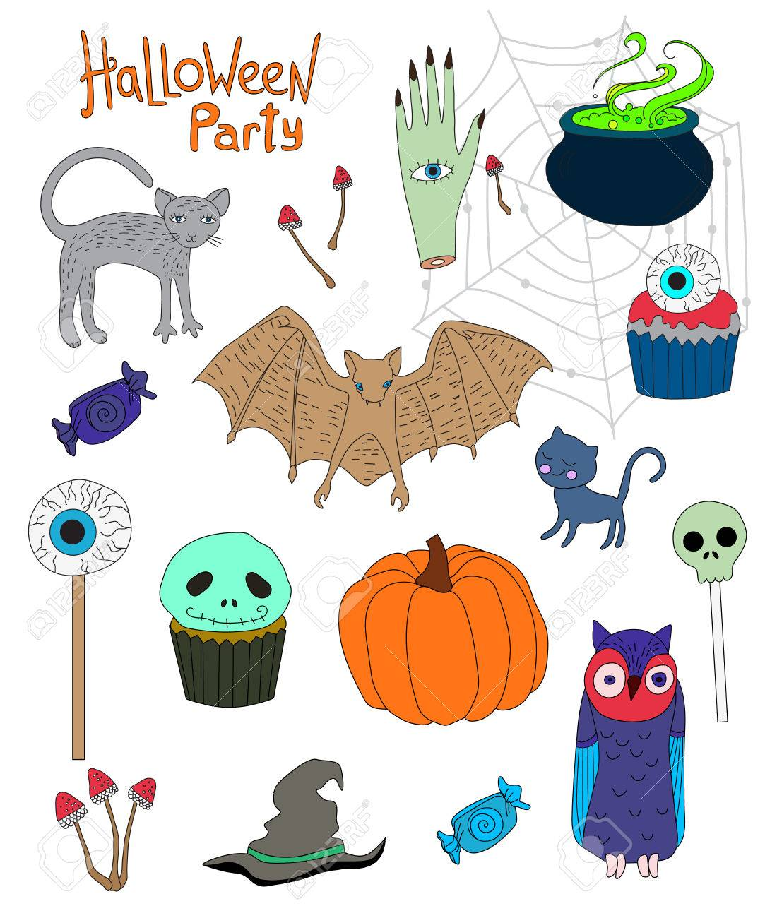 Collection Of Colored Cartoon Characters For Halloween Royalty Free