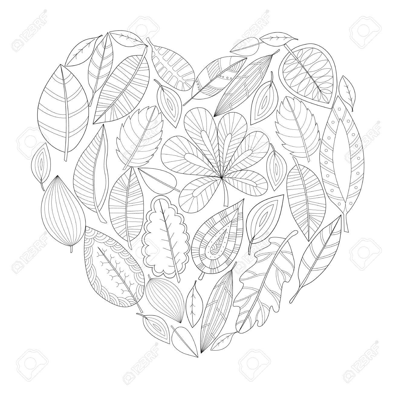 Autumn Leaves In The Shape Of Heart Hand Drawn Adult Coloring Page Stock Vector