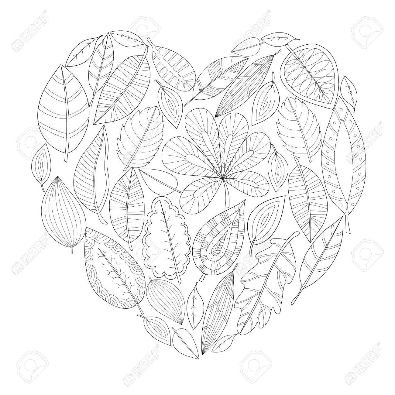 Hojas De Otoño En Forma De Corazón. Mano Dibujado Página Para ...