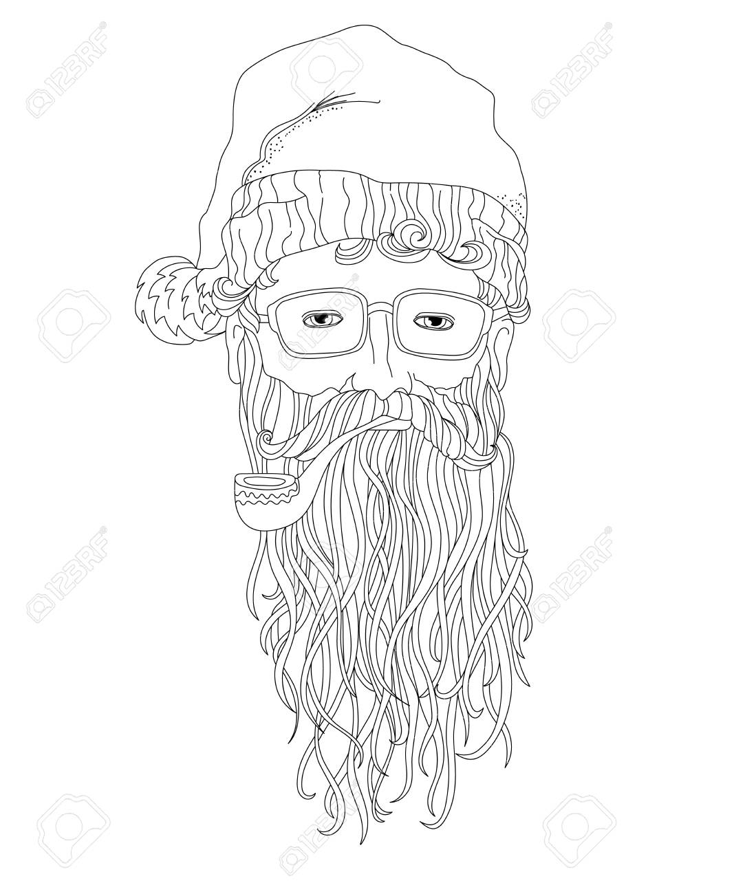 santa hipster coloring page for children and adults head of santa claus with a