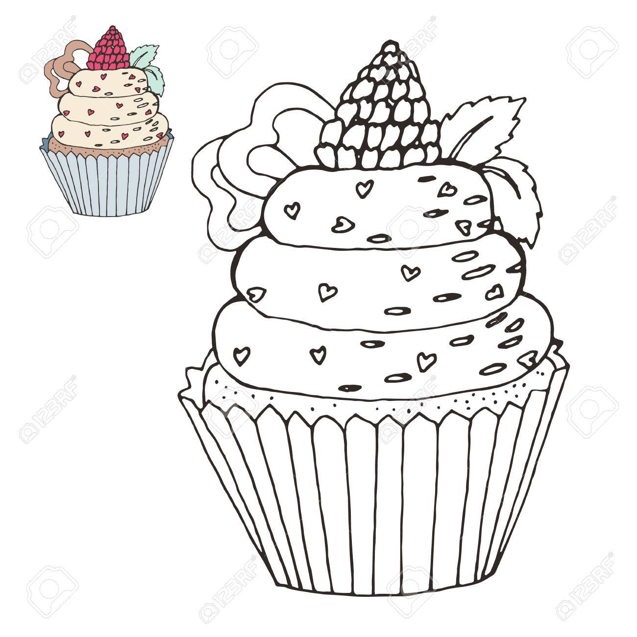 Coloring Page With A Cake. Color Version. Royalty Free Cliparts ...