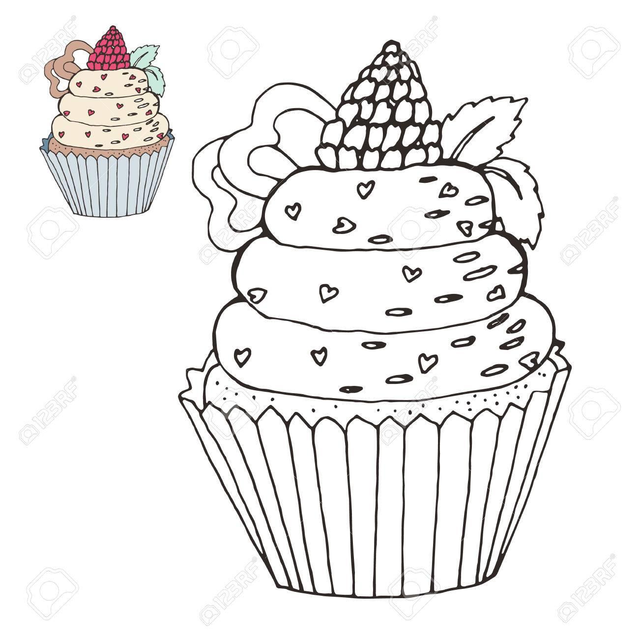 Asombroso Cupcakes Para Colorear Lindas Adorno - Enmarcado Para ...