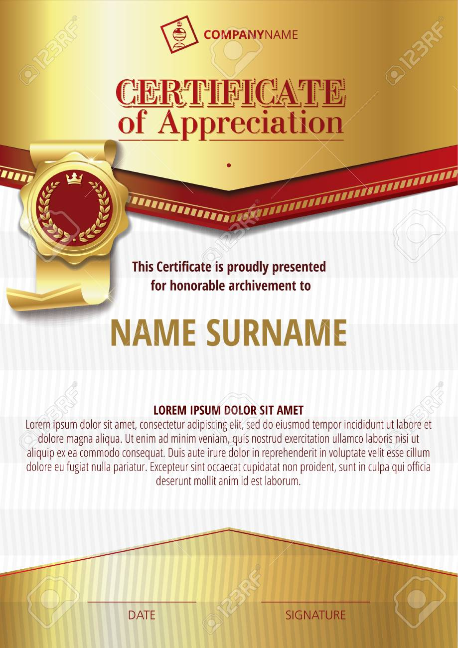 Template Of Certificate Of Appreciation With Golden Badge 3