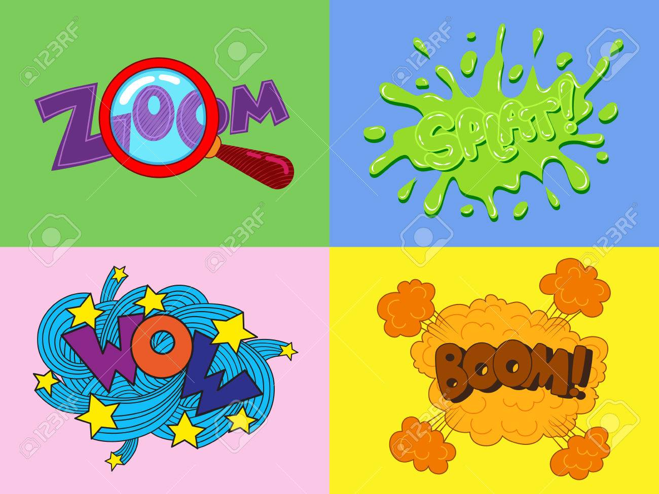 Set of сomic cartoon stickers and speech bubble zoomwowsplatboom stock