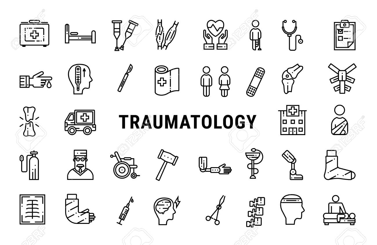 Medicine line icons collection of traumatology. Online vector illustration - 124553990