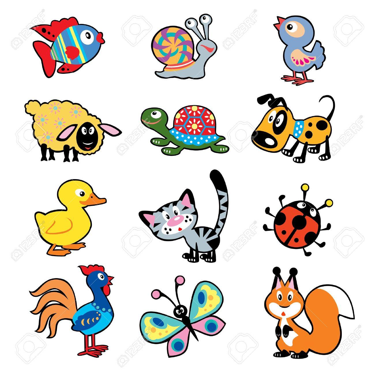 71e040376c6f7 Conjunto De Dibujos Infantiles Sencillos Con Animales